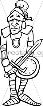 knight with sword cartoon coloring page