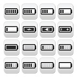 Battery charge vector buttons set