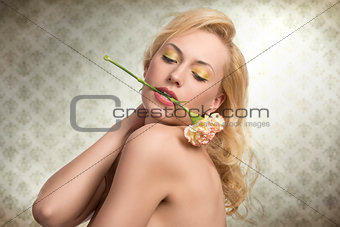 sexy portrait of girl with flower
