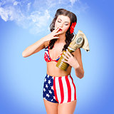 Beautiful American army pin-up girl