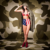 Retro pinup girl in American army lingerie