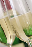 Champagne or sparkling wine with bubbles in a glass