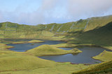 Volcano crater with lake on Azores Portugal