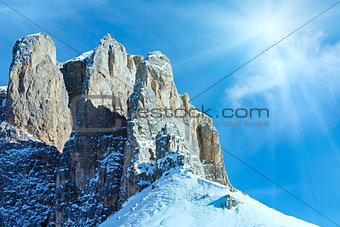 Beautiful winter mountain sunshine landscape.
