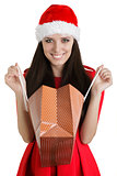 Christmas Girl with Open Shopping Bag