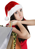 Christmas Girl with Shopping Bags Pouting