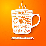 Poster with coffee cup on a bright cheerful background.