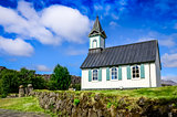 Small old church Pingvallkirkja in Thingvellir, Iceland