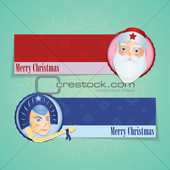 Christmas Banners With Santa Claus and Snow Maiden
