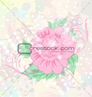 Abstract romantic grunge background with flower