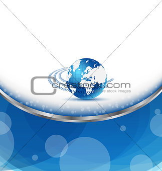 Business card with Earth planet