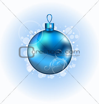 Christmas blue ball with sparkle
