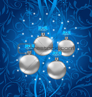 Blue holiday background with Christmas balls