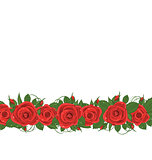 Horizontal border with red roses