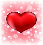 Red heart, Valentine glowing background