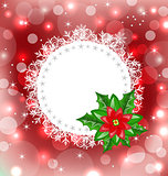 Christmas card with flower poinsettia