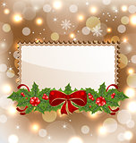 Christmas elegant card with mistletoe and bow
