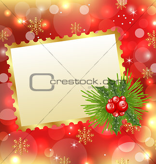 Christmas card with mistletoe and pine
