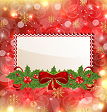 Christmas elegant card with mistletoe and bow