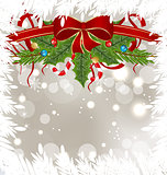 Christmas frosty card with holiday decoration