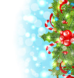 Christmas glowing background with holiday decoration