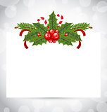 Christmas elegant card with holiday decoration (holly berry, pin