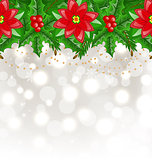 Christmas glowing background with holly berry and poinsettia