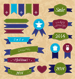 Christmas set geometric emblems and ribbons