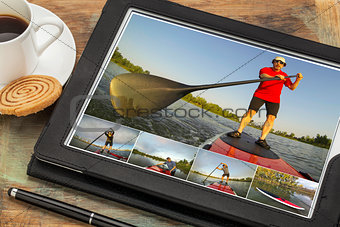stand up paddling on digital tablet