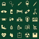 Hospital color icons on green background