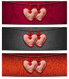 Banners with Cloth Hearts - 3 Items