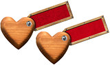 Wood Hearts with Label for Message