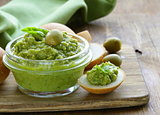 snack tapenade of green olives