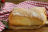 ciabatta bread on a wooden table
