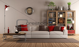 Modern sofa in a vintage living room