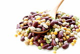 Assortment of different types of beans - red beans, chickpeas, peas