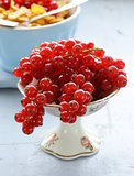 Organic sweet ripe red currant in a small vase