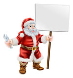 Santa holding spanner and sign