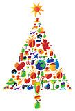 Christmas tree made of icons