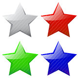 set of vector glossy five-pointed stars