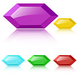 Vector glossy faceted gemstones
