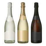 Sparkling wine blank bottles with labels