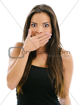 Beautiful woman in shock