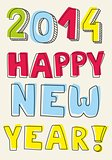 Happy New Year 2014 vector hand drawn colorful wishes.