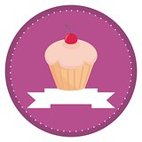 Sweet vector retro cupcake with cherry on top and violet background with white place for your own text