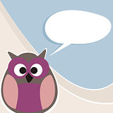 Funny vector owl talking, teaching, giving instructions.