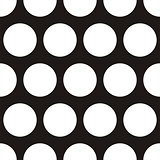 Seamless vector dark pattern with big white polka dots on black background.