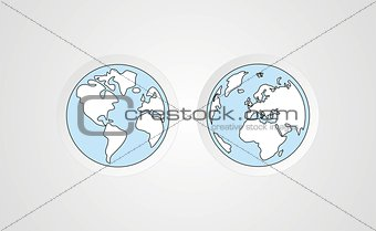 Planet Earth vector icon, buttons sticker or sign with shadow.