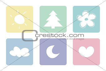 Sweet, pastel vector icons or logo isolated on white background.
