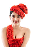 Happy indian girl wearing red cap and top